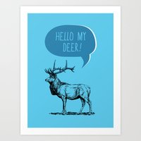 pun Art Prints featuring Deer Pun by Zeke Tucker