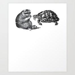 Racoon Turtle Art Print