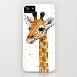 Baby-Giraffe-Nursery-Print-Watercolor-Animal-Portrait-Hearts iPhone Case