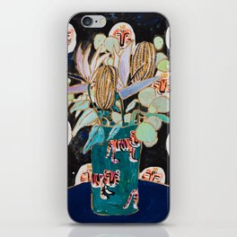 Dark Floral Still Life with Banksia Pods and Tigers iPhone Skin