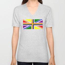 UK Gay Pride Union Jack Flag Unisex V-Neck