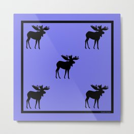 Bull Moose Silhouette on Periwinkle Metal Print