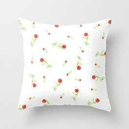 Red Tulips Pattern Throw Pillow