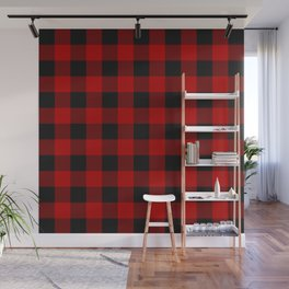 Red and black squares plaid print Wall Mural