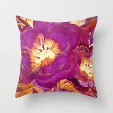 vintage big flower in purple Throw Pillow