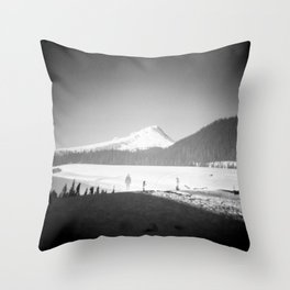 Lonely Ghost of Mount Hood Meadows - Black and White Film Double Exposure Photograph Throw Pillow