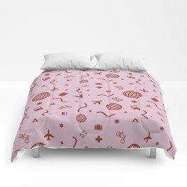 Cityicons Postmodern Travel Print - Lilac/Rust Comforters