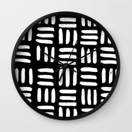 Black Mudcloth Pattern Wall Clock
