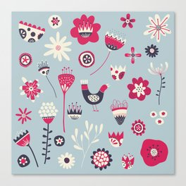 Scandi Birds and Flowers Blue Canvas Print