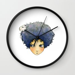 the girl with lamb hair Wall Clock