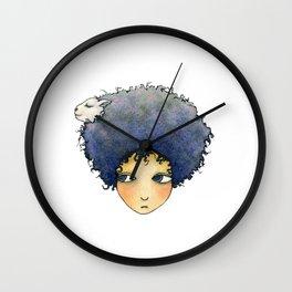 the girl with lamb hair Wall Clock