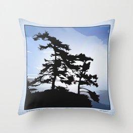 TWO WINDSWEPT DOUGLAS FIR ON THE SHORELINE Throw Pillow