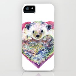 HedgeHog Heart by Michelle Scott of dotsofpaint studios iPhone Case
