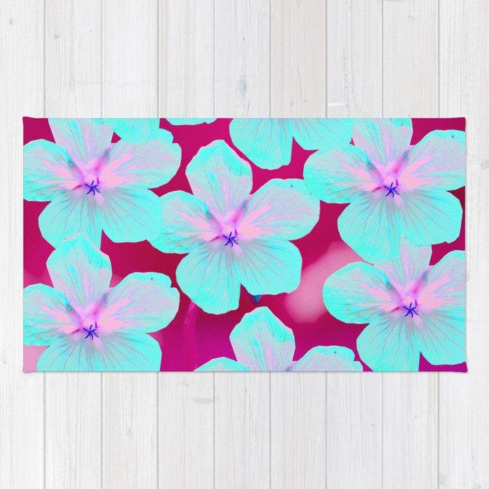 Turquoise Retro Flowers On Pink Background #decor #society6 Rug