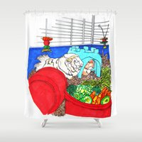 guinea pig Shower Curtains featuring Guinea Pigs In A Cage by Adamzworld