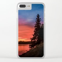 Evening on the river Clear iPhone Case