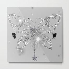 Silver Butterfly Glow Metal Print