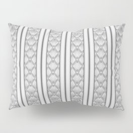 Cool Frosted Steel Grey Quilted Geometric Design Pillow Sham