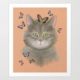 Cat & butterflies Art Print
