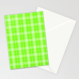 Bright Neon Green and White Tartan Plaid Check Stationery Cards