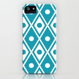 Harlequin Pattern Cerulean Blue iPhone Case
