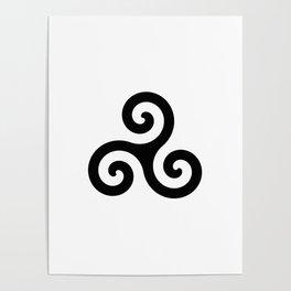 Triskele 5 -triskelion,triquètre,triscèle,spiral,celtic,Trisquelión,rotational Poster