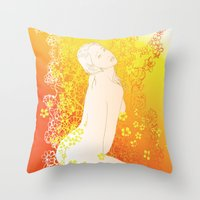 erotic Throw Pillows featuring Floral Beauty  by Stevyn Llewellyn