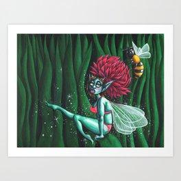 Fairy and bee Art Print
