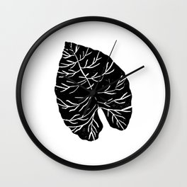 Big Leaf linocut black and white modern minimal abstract hipster trendy house plants Wall Clock
