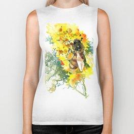 Honey Bee and Flower yellow honey bee design honey making Biker Tank