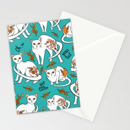 Oh, no! your cat got a tattoo - turquoise Stationery Cards