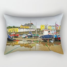 Tenby Harbour Reflection.Wales. Rectangular Pillow