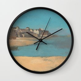 Odilon Redon - Village by the Sea in Brittany Wall Clock