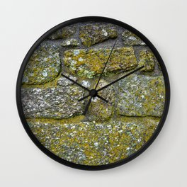 Old granite wall with grey and green colors Wall Clock