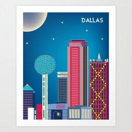 Dallas, Texas - Skyline Illustration by Loose Petals Art Print