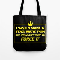 pun Tote Bags featuring Intergalactic Pun by Ninja Klee