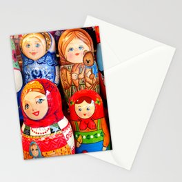 Culture. Group of matrioska, or babushka, symbol of maternity from Russia. Stationery Cards