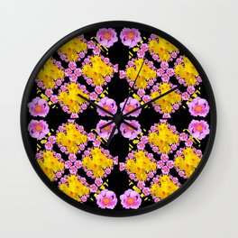 Black Roce & Yellow Color Pattern Floral Wall Clock