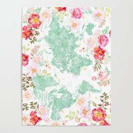 Mint green and hot pink watercolor world map with cities Poster