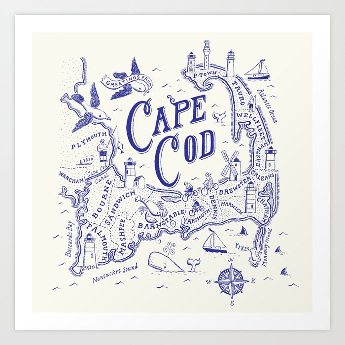 graphic about Printable Map of Cape Cod named Cape Cod Map Artwork Print via ryanorourke