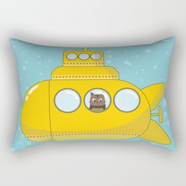 Yellow submarine with a cat and bubbles Rectangular Pillow