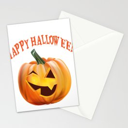 Happy Halloween Funny Jack o Lantern Pumpkin Stationery Cards