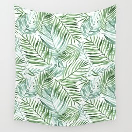Watercolor palm leaves pattern Wall Tapestry