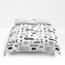 Railroad Symbols on White Comforters