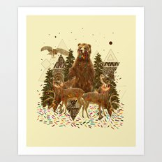 YOUNG SPIRIT IN THE WOODS Art Print