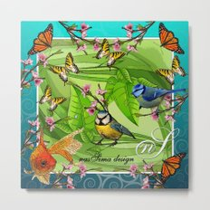 Birdy & Fishy spring blue Metal Print