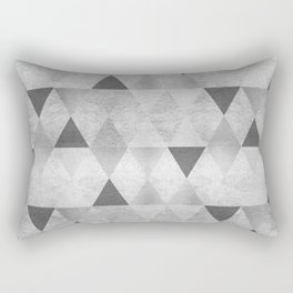 GRAPHIC PATTERN Sparkling triangles | silver Rectangular Pillow
