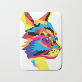Geomtric Colourful Kitten Digitally Created Bath Mat