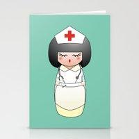 nurse Stationery Cards featuring Kokeshi Nurse by Pendientera