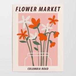 Flower market print, Columbia road, Floral art, Flower art, Aesthetic art print, Peach art Poster